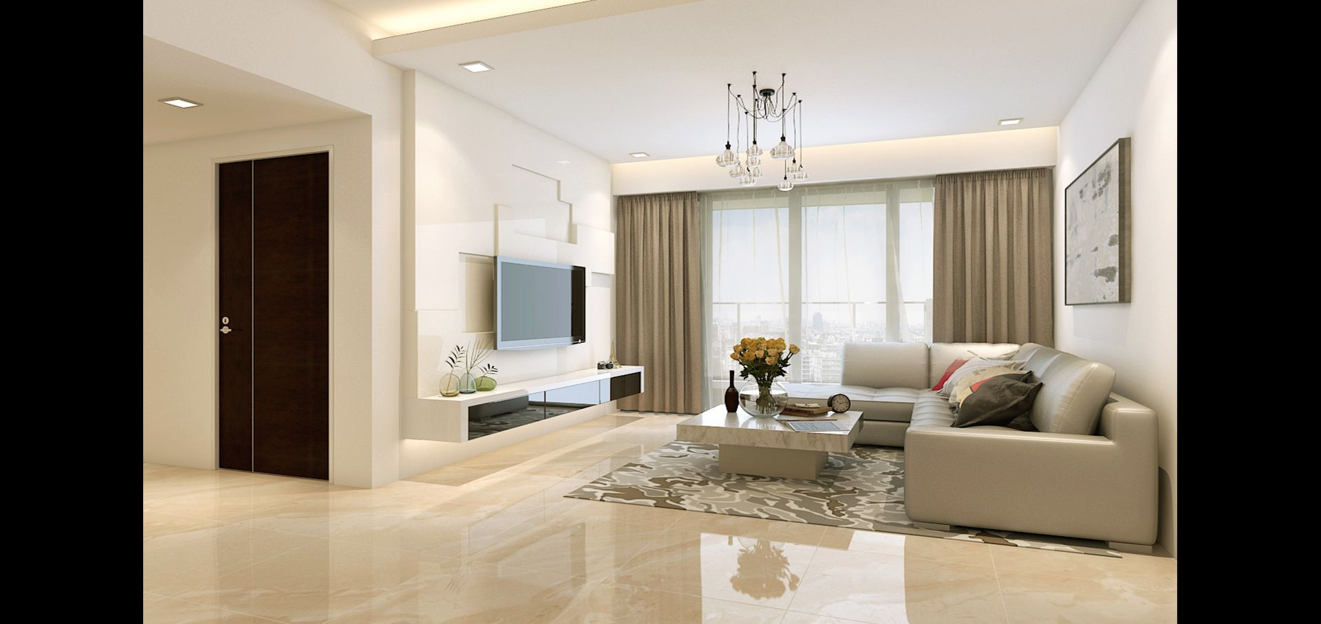 Marble Floors Living Room Beautiful Interior Design White Tv Feature Wall Contrast