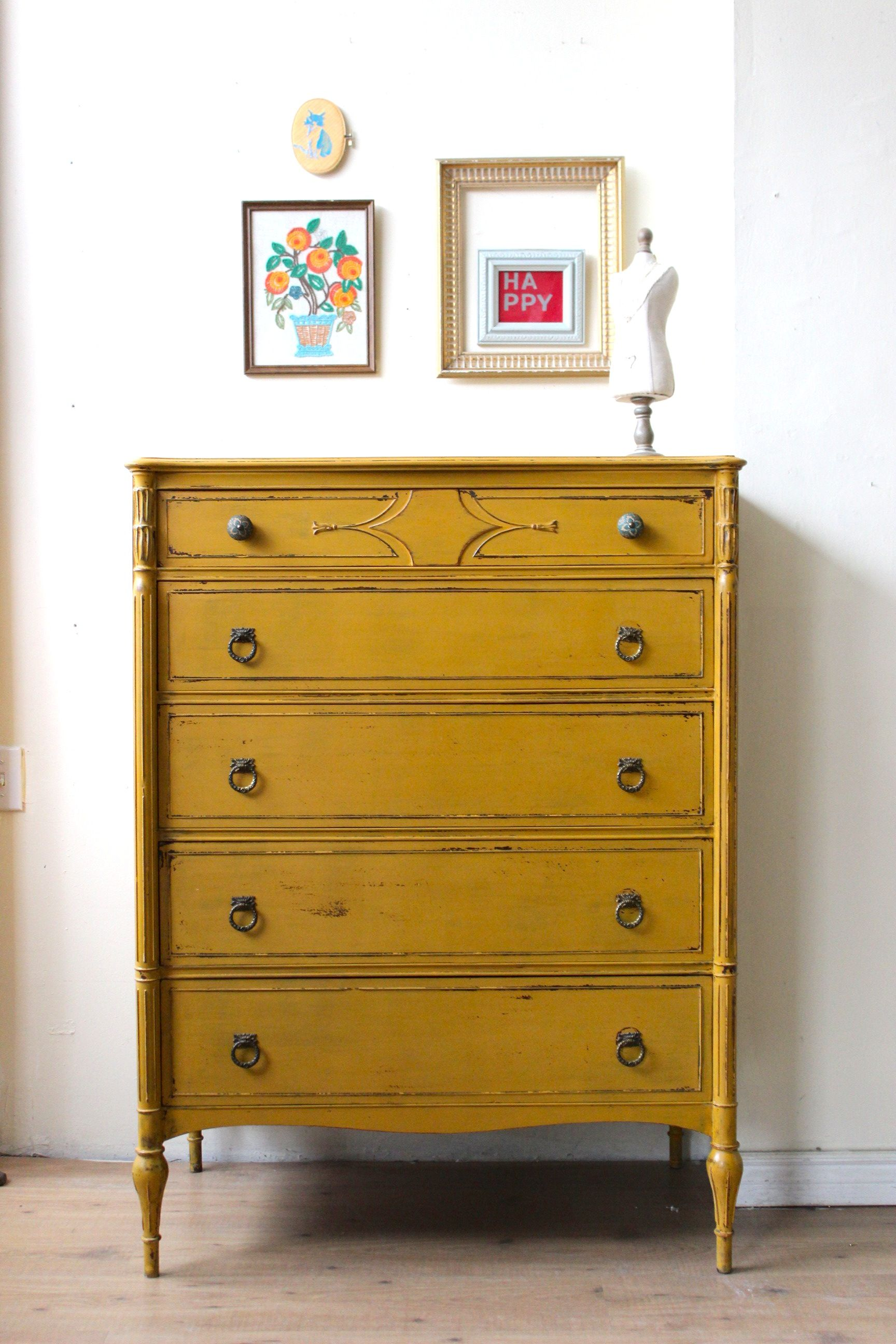 mustard yellow dresser painted with milk paint