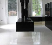 Ultra modern gloss black floating cantilevered kitchen ...