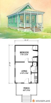 Charming tiny cottage plan by Marianne Cusato. 400sft 1 ...