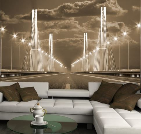 living room idea bridge #3D photo wallpaper \/ wall mural - 3d wallpaper for living room