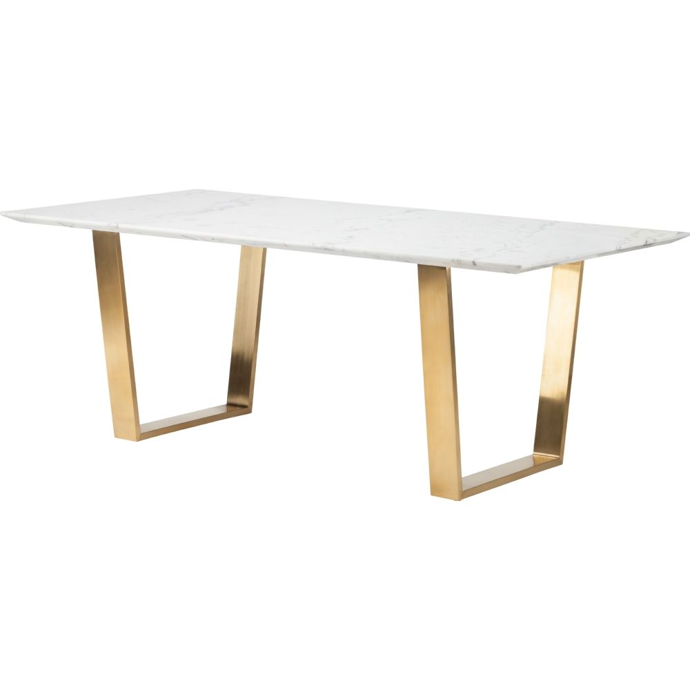 marble top kitchen table Nuevo Modern Furniture HGSX Catrine Dining Table White Marble Top Brushed Gold Stainless Base