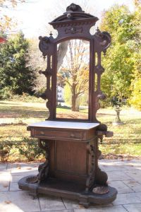 Antique Victorian Eastlake Marble Top Hall Tree Coat Rack ...