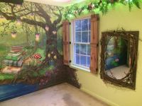 Enchanted forest bedroom - Mural, board and batten ...