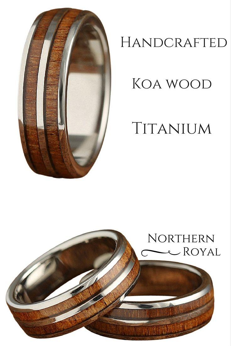 vitalium wedding band 7mm Titanium Wood Ring with a Titanium Strip Center