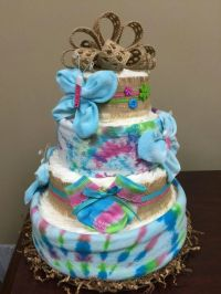 Peace, Love, Baby! Tie dye diaper cake, shower gift. Baby ...