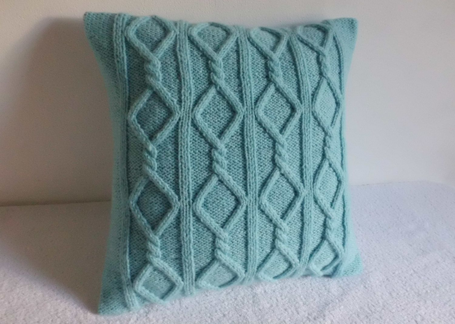 Cable Knit Pillow Cover Aqua, Turquoise Knit Throw Pillow