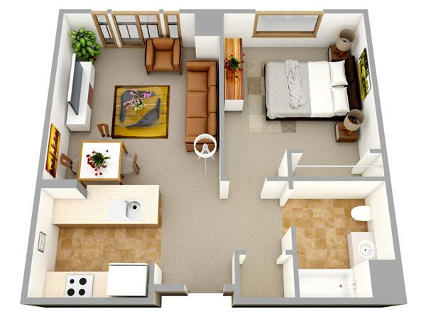 3D one bedroom small house floor plans for single man or woman are - 3d house plans