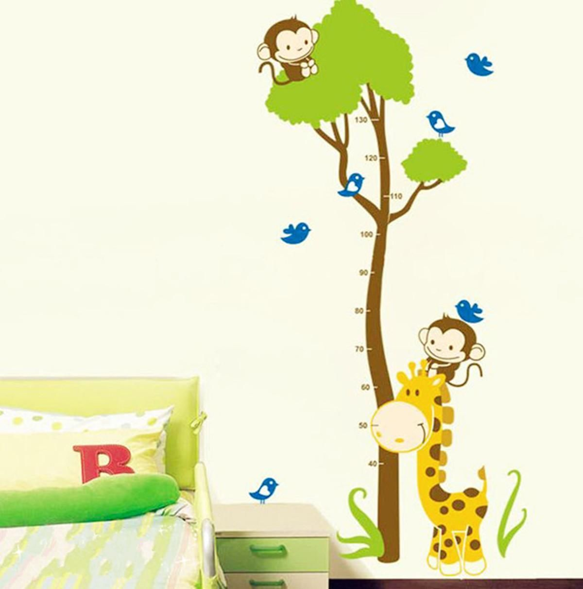 Vinilo Decorativo Pared Vinilo Decorativo De Pared Medidor Infantil Monos Y árbol