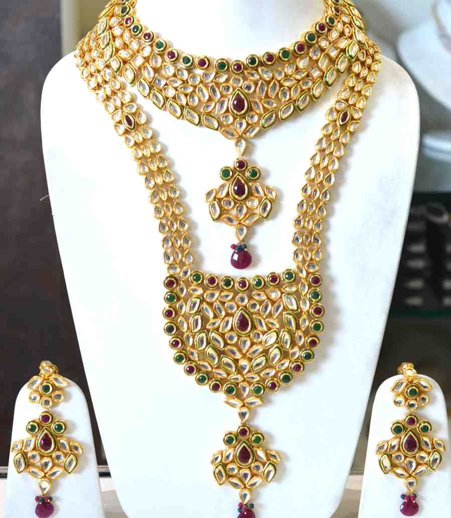 wedding jewelry sets Kundan Red Green Bridal Set class