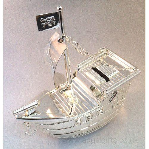 Jolly Roger Silver Pirate Ship Money Box Pirate