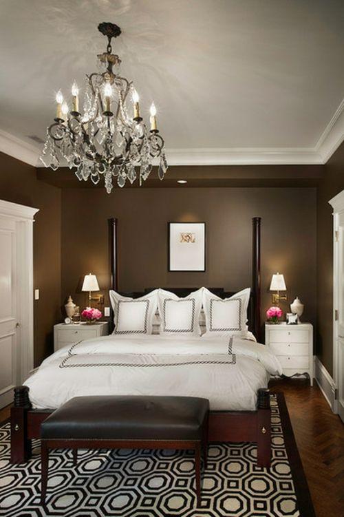Kronleuchter im Schlafzimmer doppelbett braun wandgestaltung - schlafzimmer wandgestaltung braun