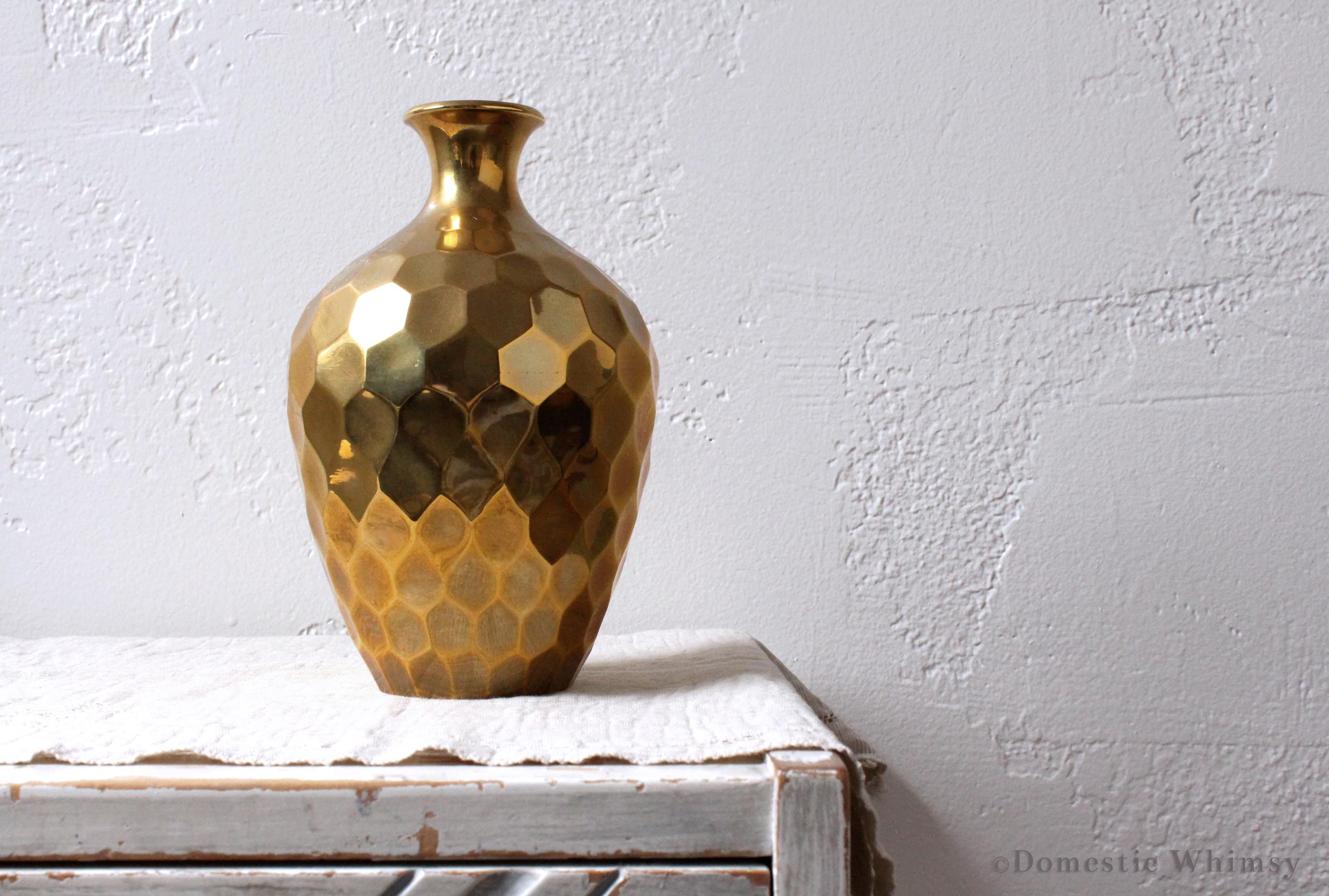 Unique Vases For Sale Solid Brass Vase With Honeycomb Pattern Made In India