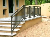 Wrought Iron And Wood Exterior Front Porch Railing  Deck