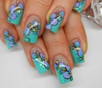 Teal French Manicure Tips Glitter, Blue Flowers, Black ...