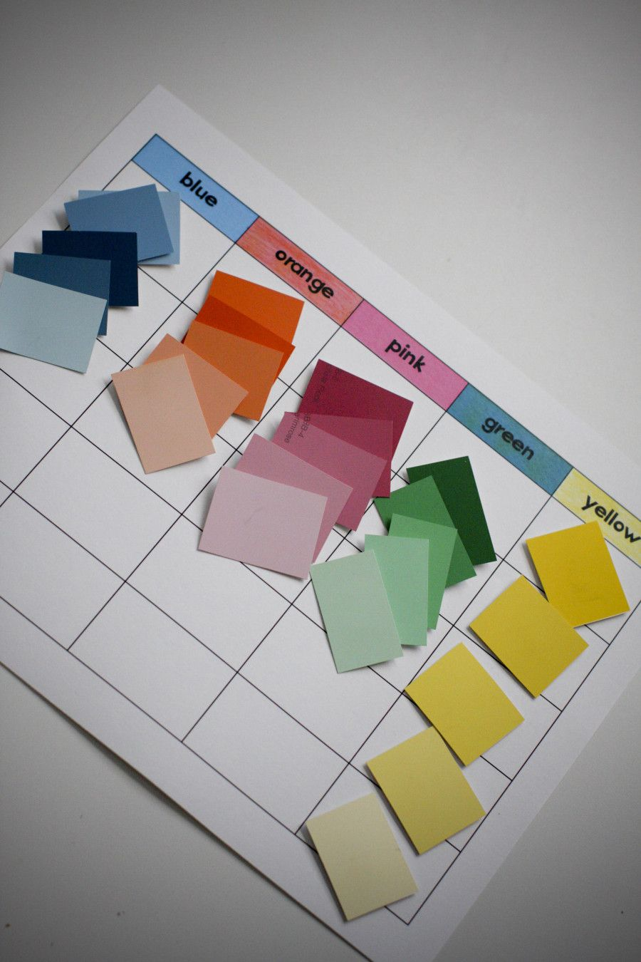 Shades of color use paint strips