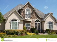 Stucco Stone House Pretty Windows Royalty Free Stock Image ...