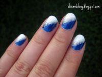 Nail art: Blue and white nail art design | Nail art ...