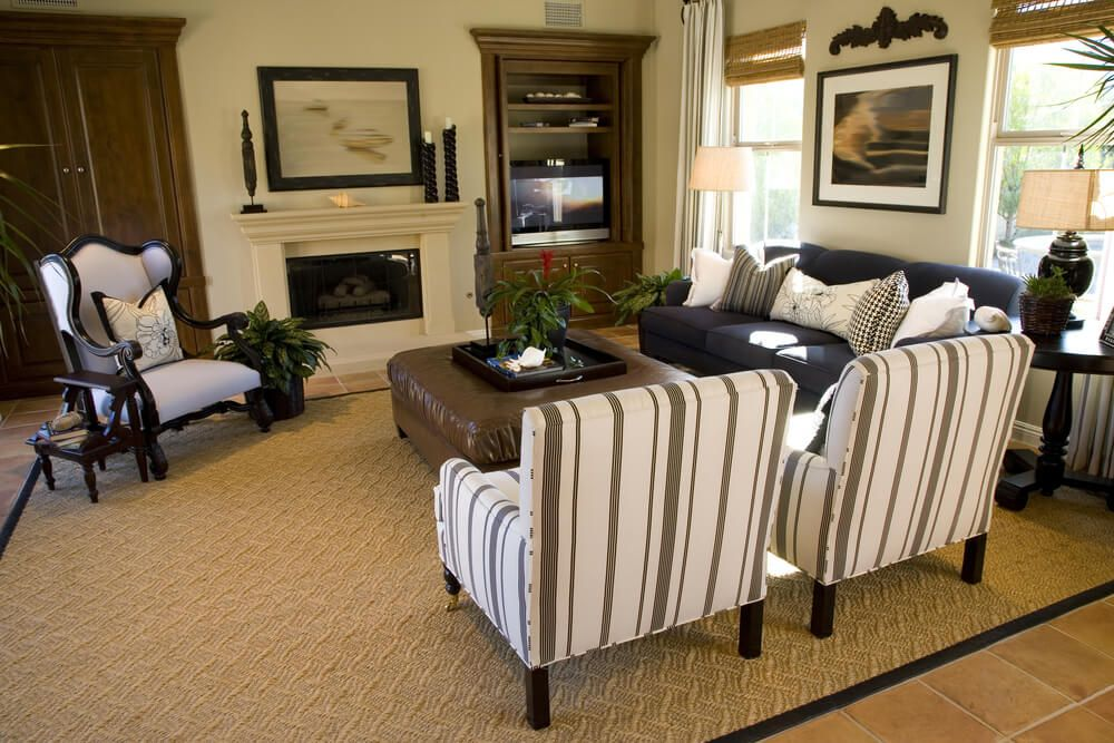 46 Swanky Living Room Design Ideas Leather ottoman, Traditional - small accent chairs for living room