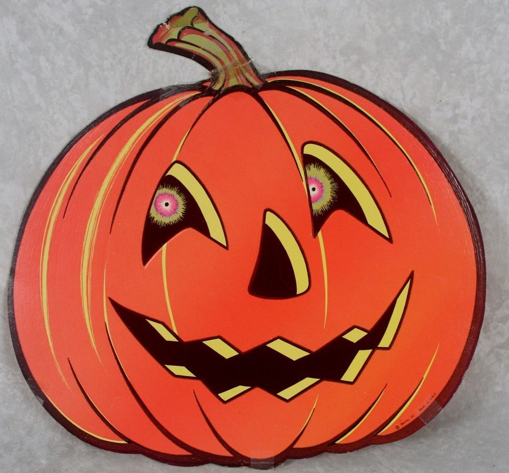 Vintage beistle halloween pumpkin jack o lantern head die cut paper decoration