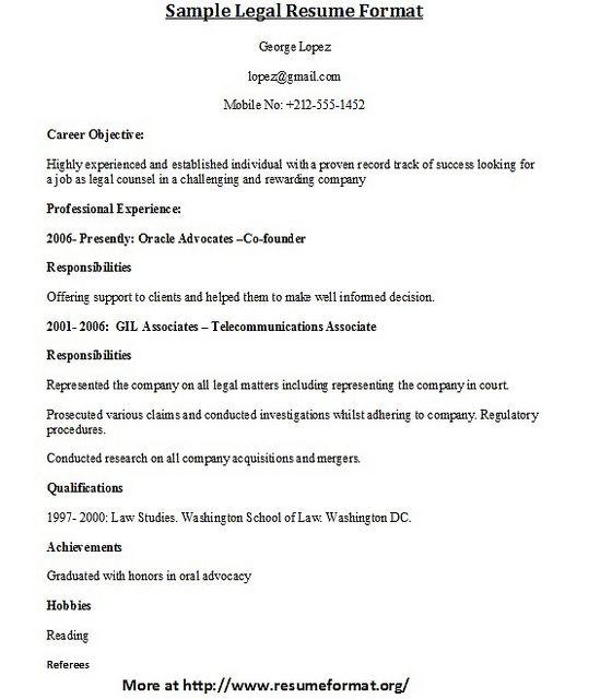 For More Sample Legal Resume Formats Visit Www