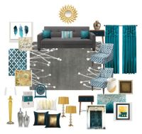 """Teal, grey, gold living room"" by ealfaro814 on Polyvore ..."