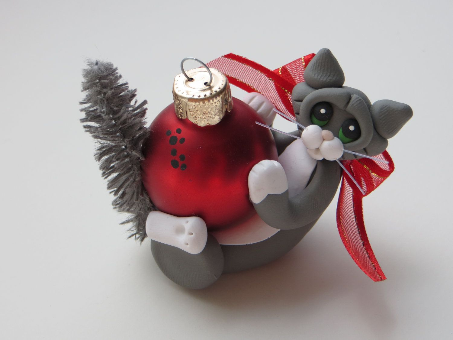 Polymer clay cat christmas ornament gray tuxedo by