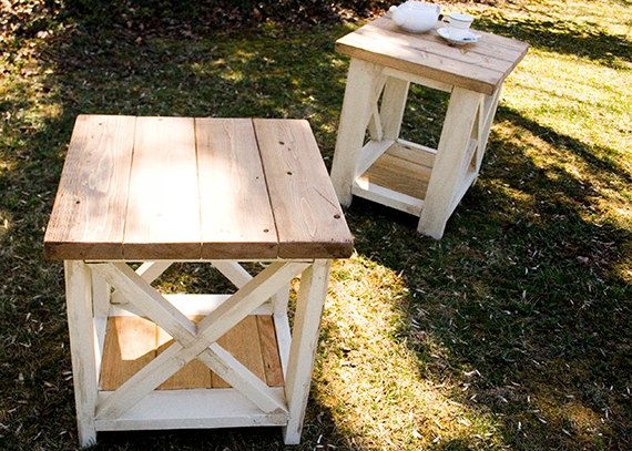 Custom Rustic Farmhouse End Table by TheWoodMarket on Etsy https - living room end table