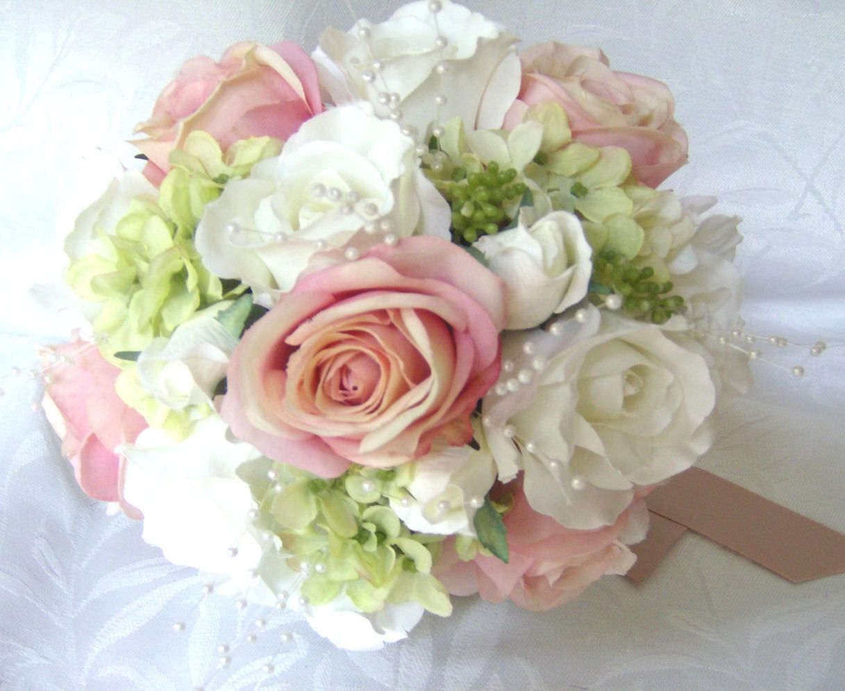 wedding bouquet Wedding bouquets and boutonnieres 7 piece set silk bridal bouquets pink blush roses creme white roses green hydrangea