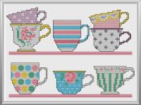 Pretty Teacups Cross Stitch Pattern Instant Download ...