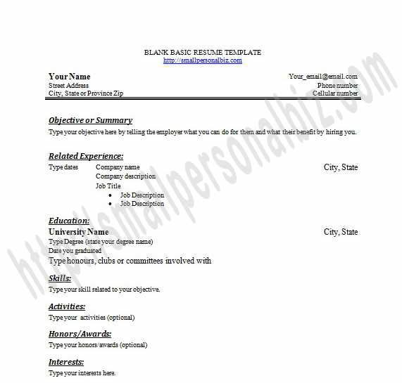 Printable Blank Resume Templates In Word for Students or Graduates - resume builder microsoft word