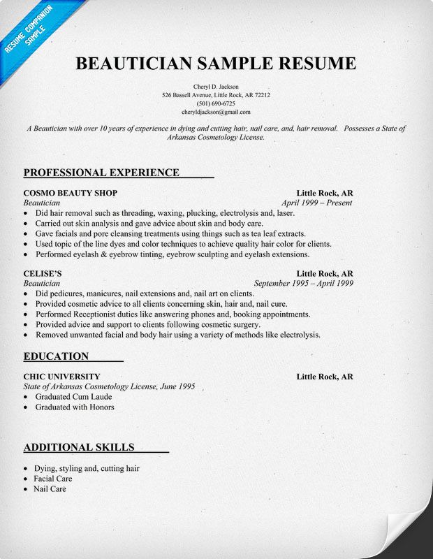 Beautician Resume Example (http\/\/resumecompanion) Resume - resume for cosmetologist
