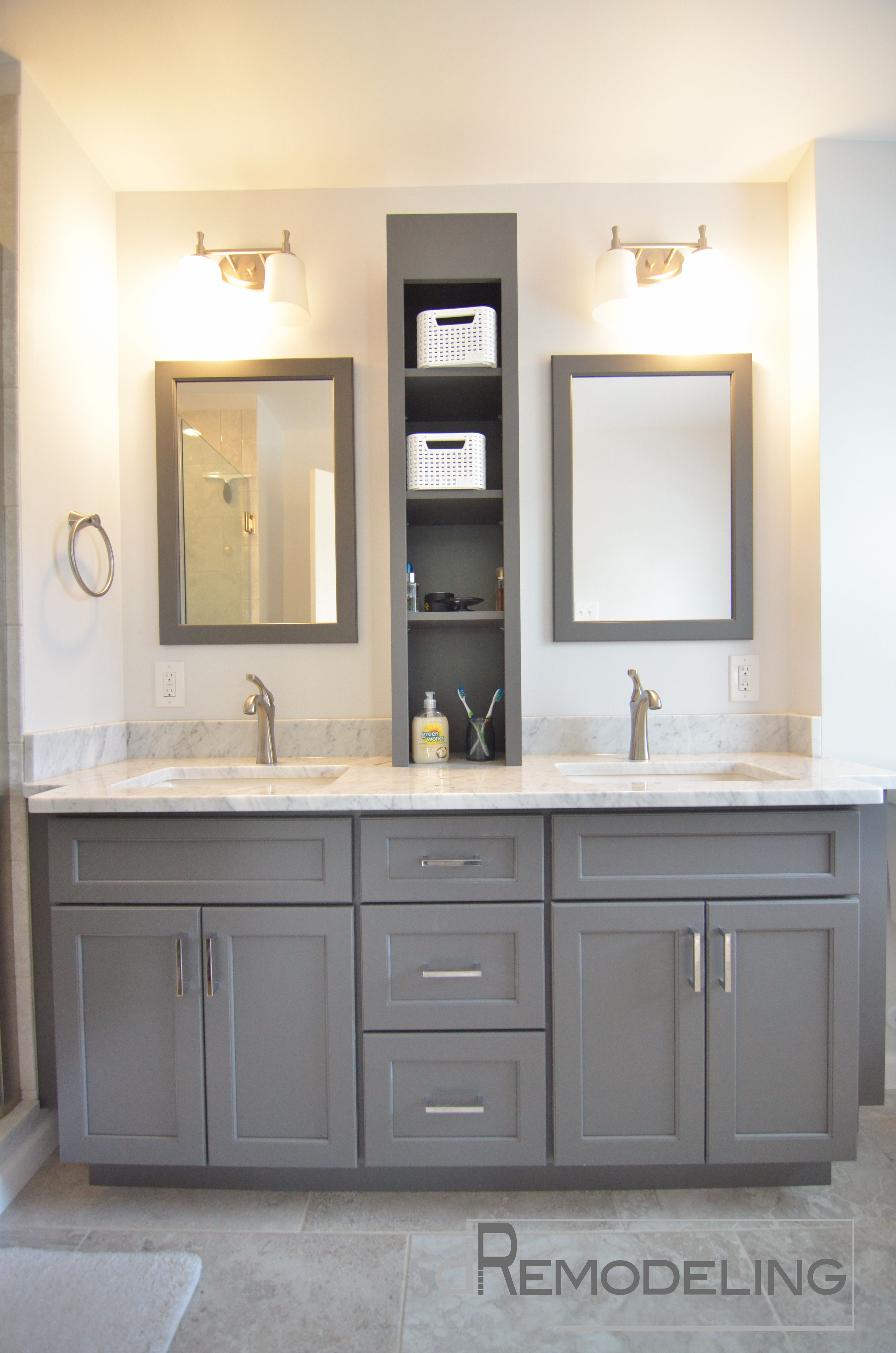 Twencent gray vanity for contemporary bathrooom furniture decoration palatial double wall mounted rectangle mirror frames over double gray vanity and white