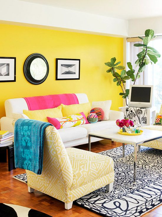 Decor in a Day Easy Decorating Projects Colorful living rooms - yellow living room walls