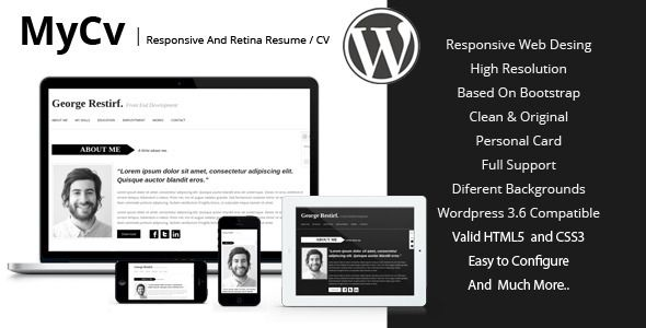 My Cv - Responsive And Retina WordPress theme \/ CV Wordpress - wordpress resume template