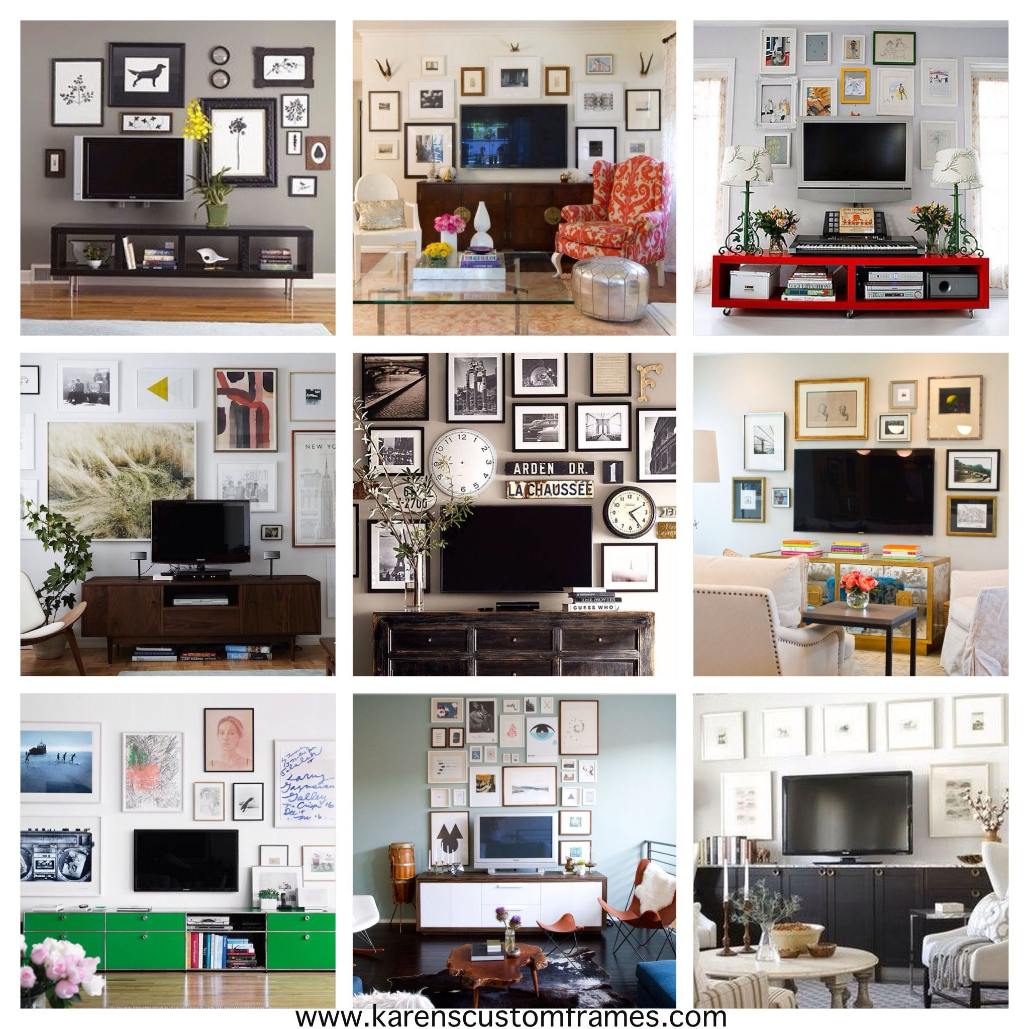 Decorate Wall Around Tv Position The Flat Screen Above A Console And Gather A