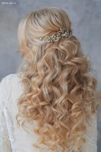 long wavy half up half down wedding hairstyle with pearl ...