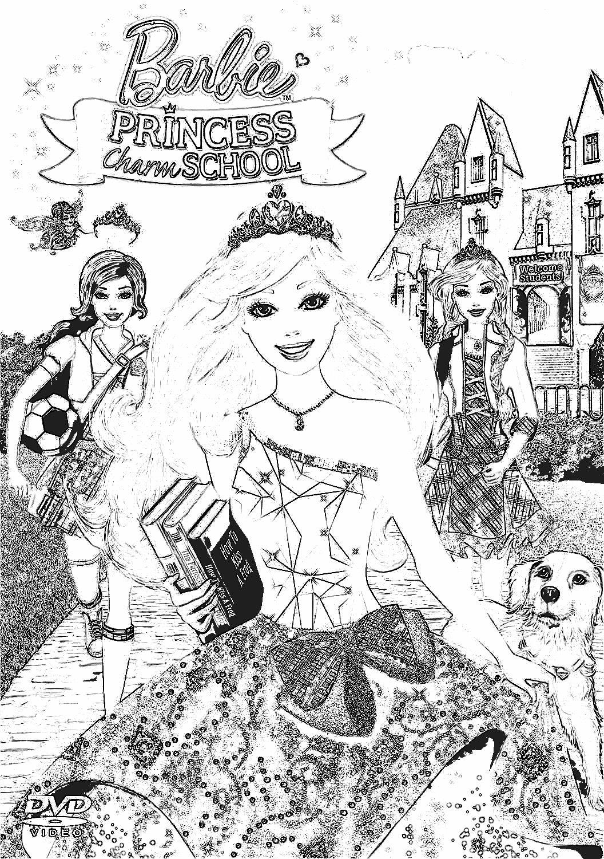 Barbie princess charm school coloring pages 7