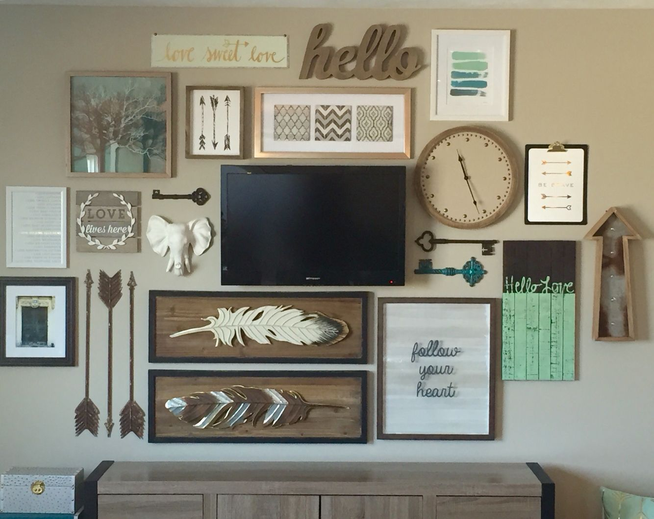 Decorating Ideas Around Tv On Wall Love All The Things And Colonies Too Much On One Wall