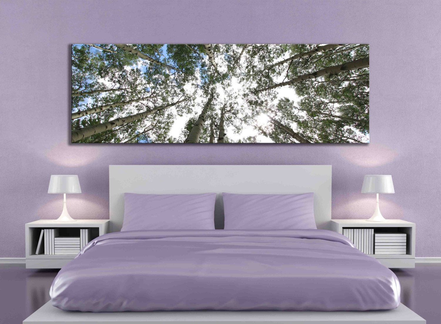 Bedroom Wall Art Trees Big Aspen Tree Photograph Large Panoramic Canvas Print