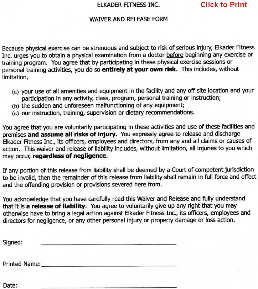 Printable Sample Release And Waiver Of Liability Agreement Form - free release of liability form