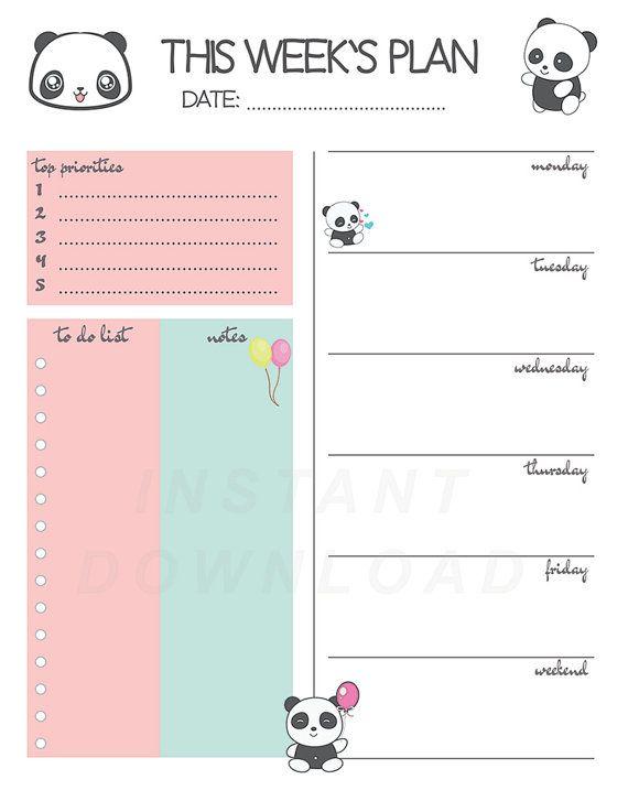 Panda Weekly Planner, Printable Weekly Planner, Cute Weekly Agenda - weekly agenda