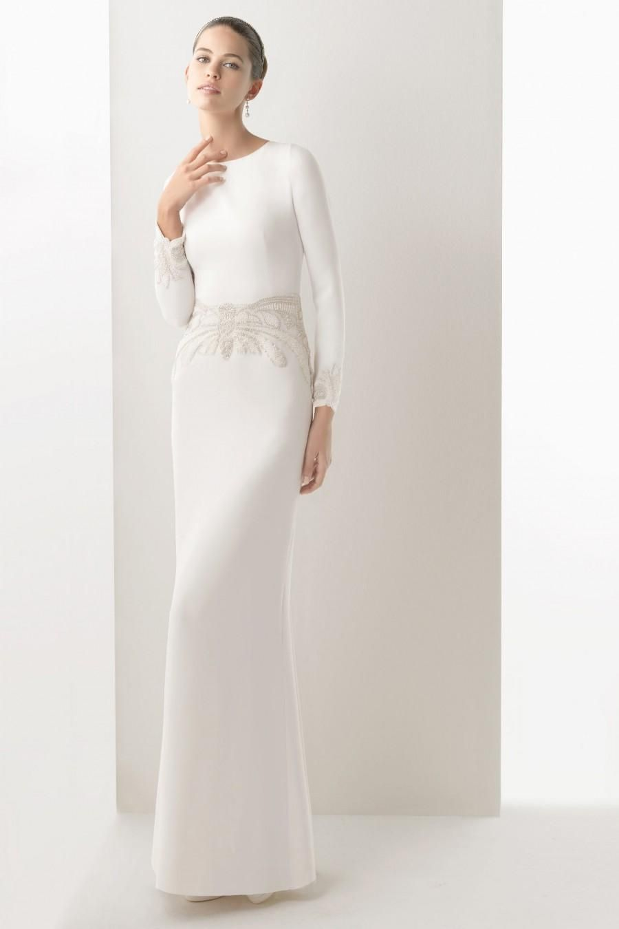 wedding dress long sleeve Sheath Scoop Beading Church Wedding Dress With Long Sleeve