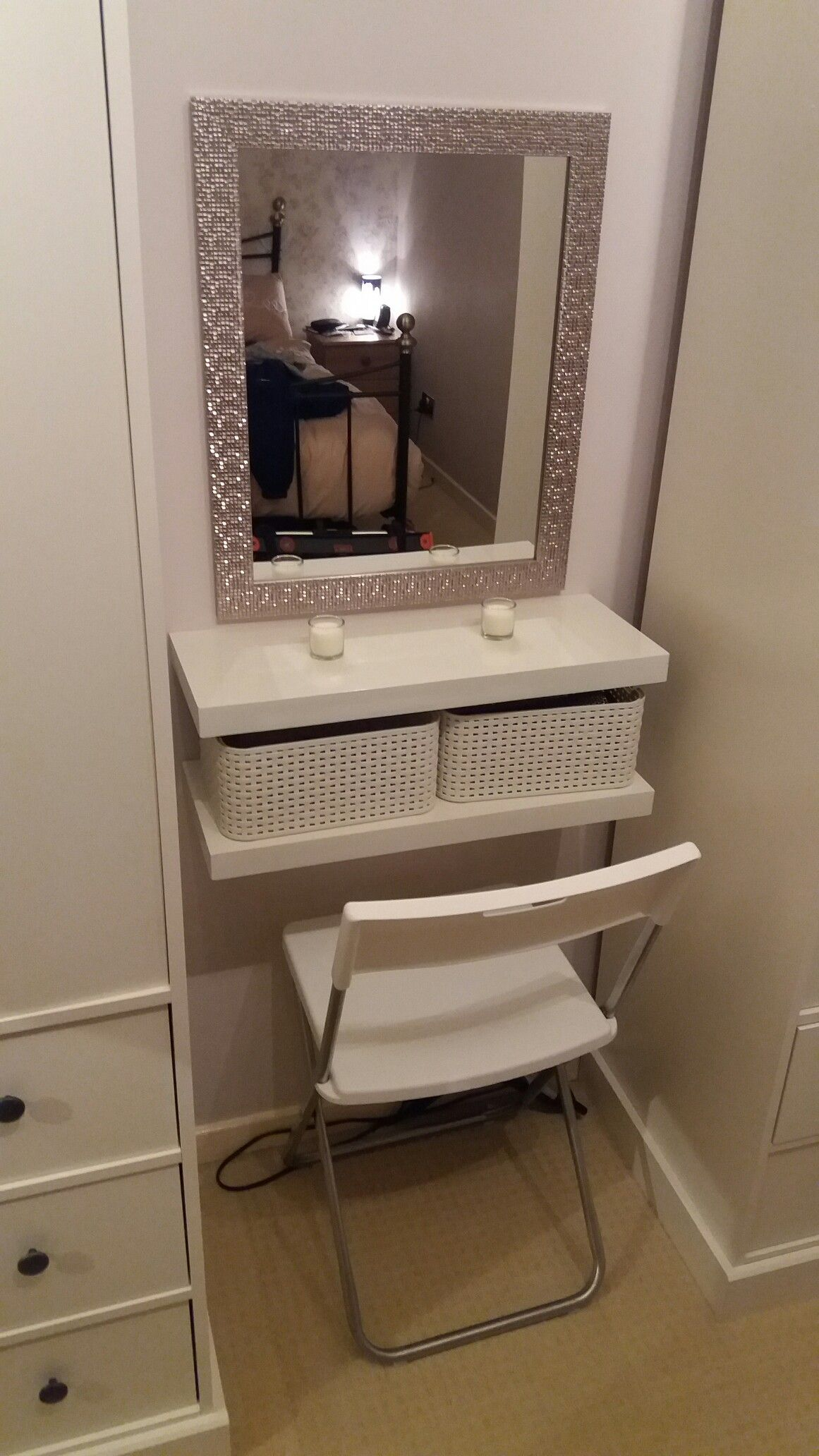 Dressing Diy Diy Dressing Table 2 Floating Shelves Crates Seat And