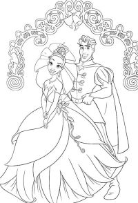 Princess Tiana And The Frog Prince Ready To Marry Coloring ...