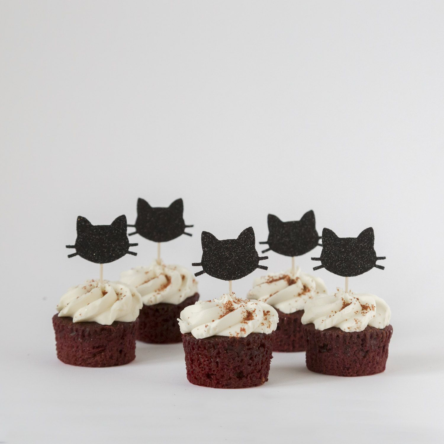 Black Cat Decorations Cat Cupcake Toppers Black Cat Party Decorations Silver