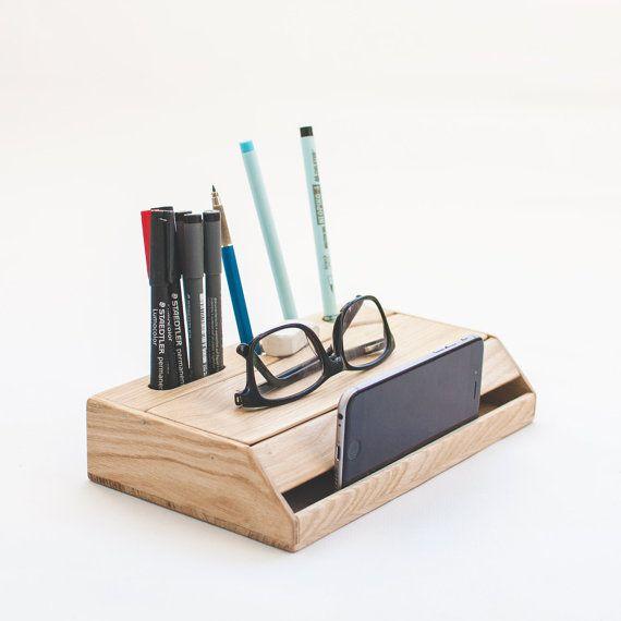 Wood handmade desk organizer / Office modern desk