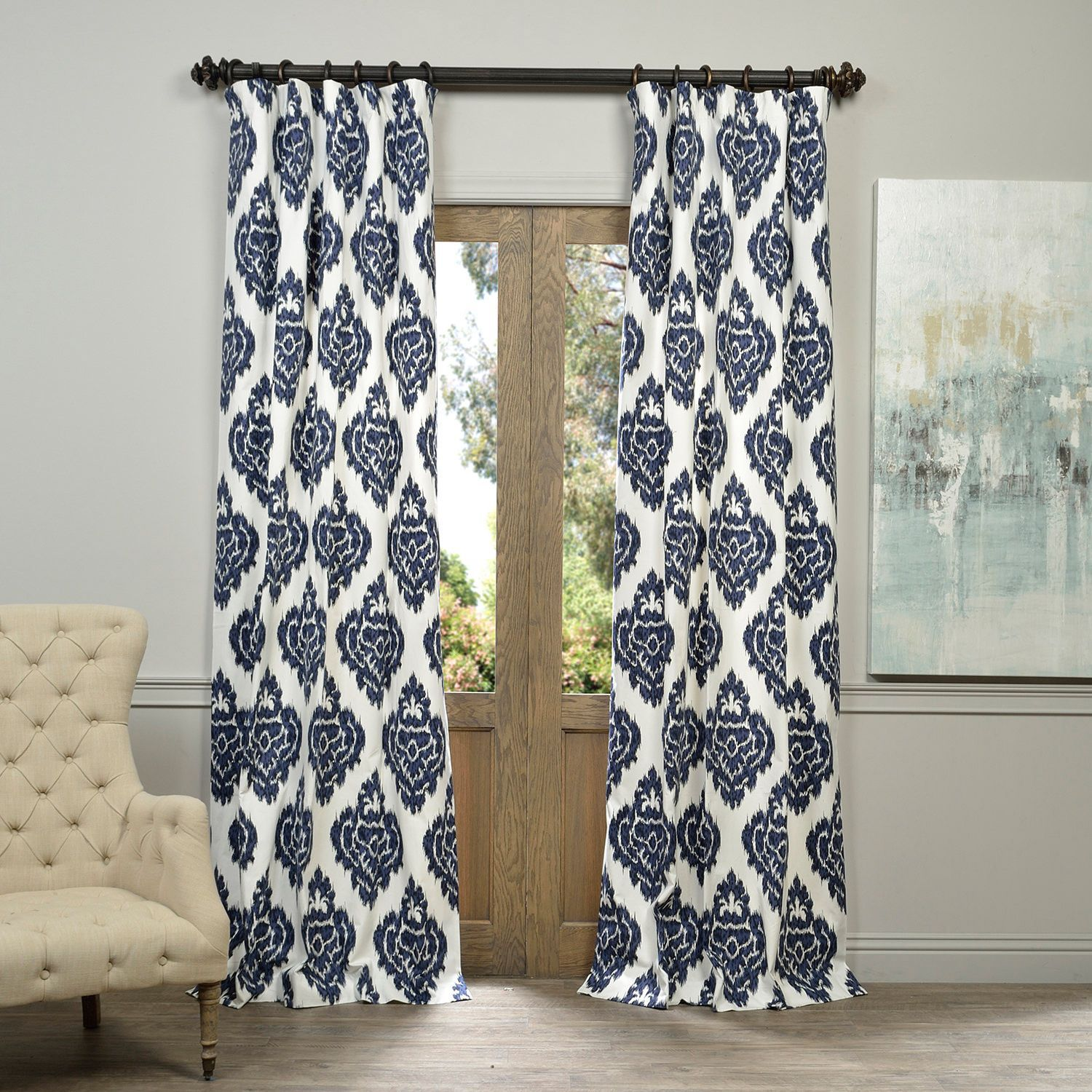 Add interest and drama to almost any room in your home with this cotton curtain panel