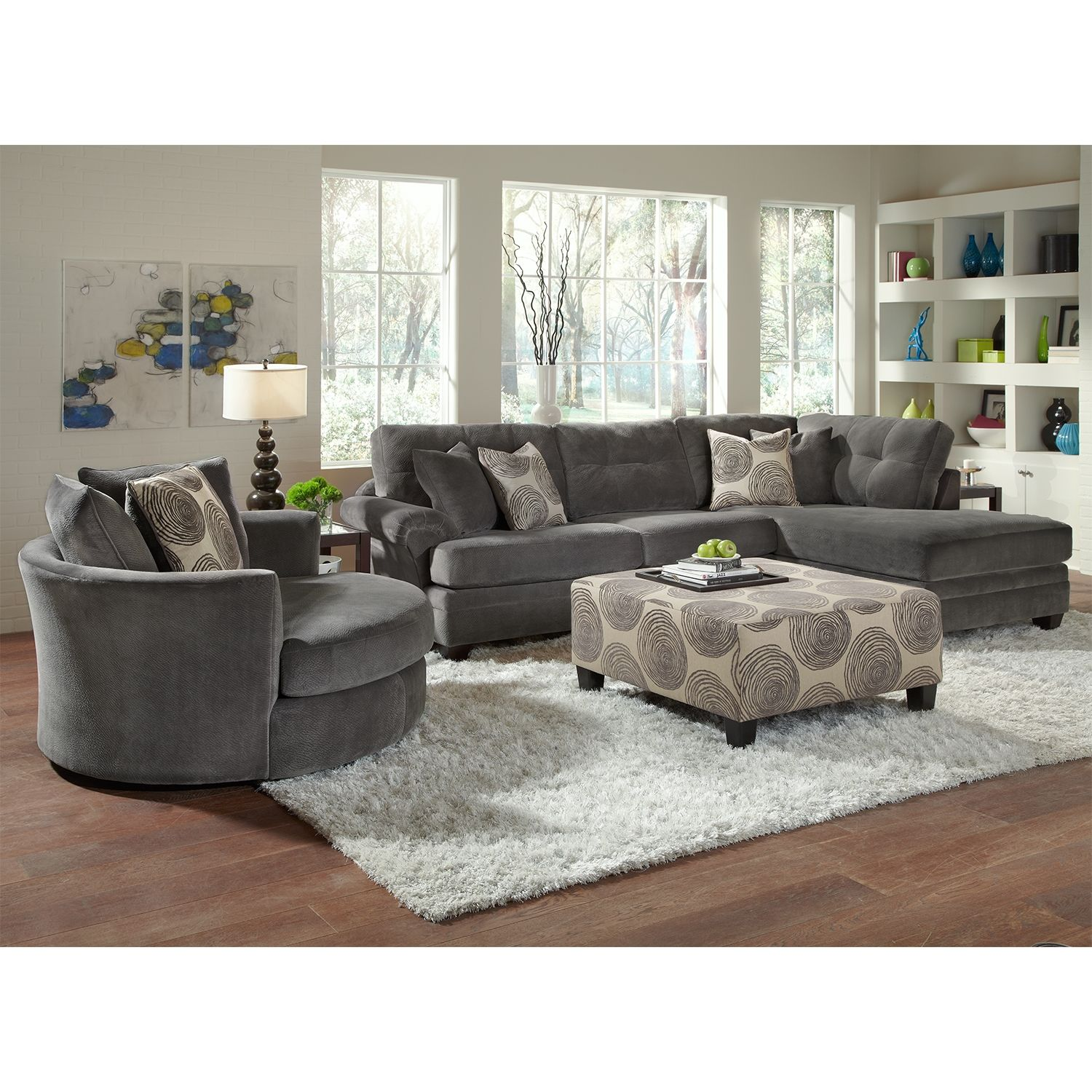 Living room ideas catalina gray upholstery 2 pc sectional furniture com