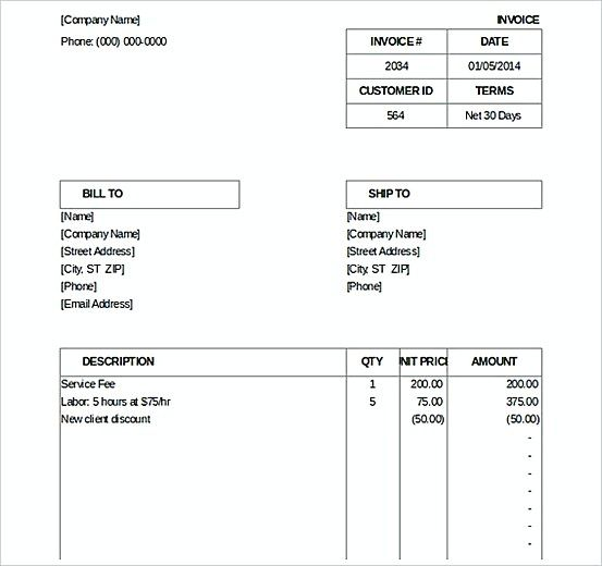 microsoft excel invoice template download